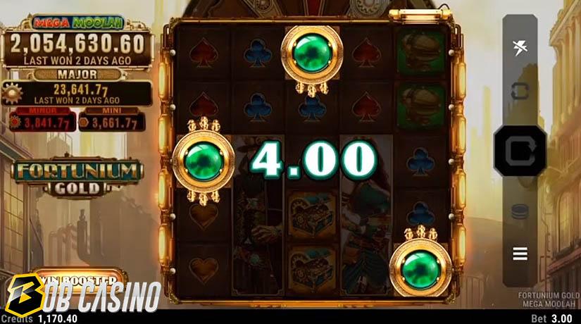 Bonus Round in the Fortunium Gold Mega Moolah Slot