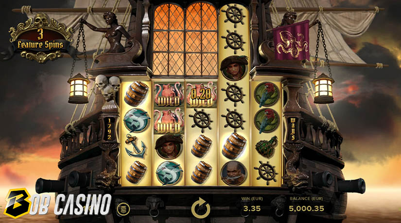 3 free spins and wild symbols in Rage of Seas Slot