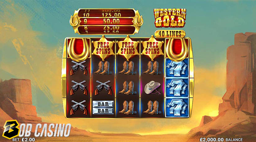 Free Spins in Western Gold Slot on Bob Casino