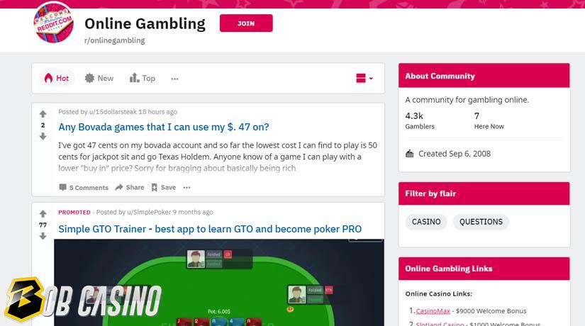 Gambling subreddits on Reddit that form a large online gambling community.