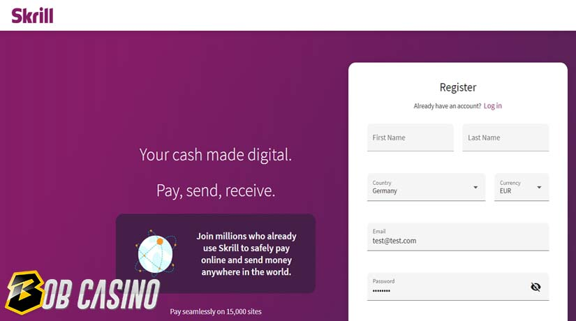 Skrill registration form that users need to sign before depositing in a casino
