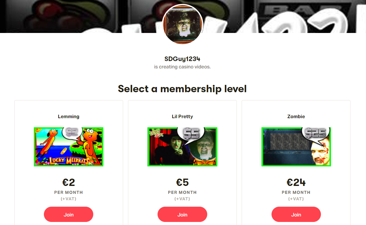 SDGuy1234 Patreon membership levels.