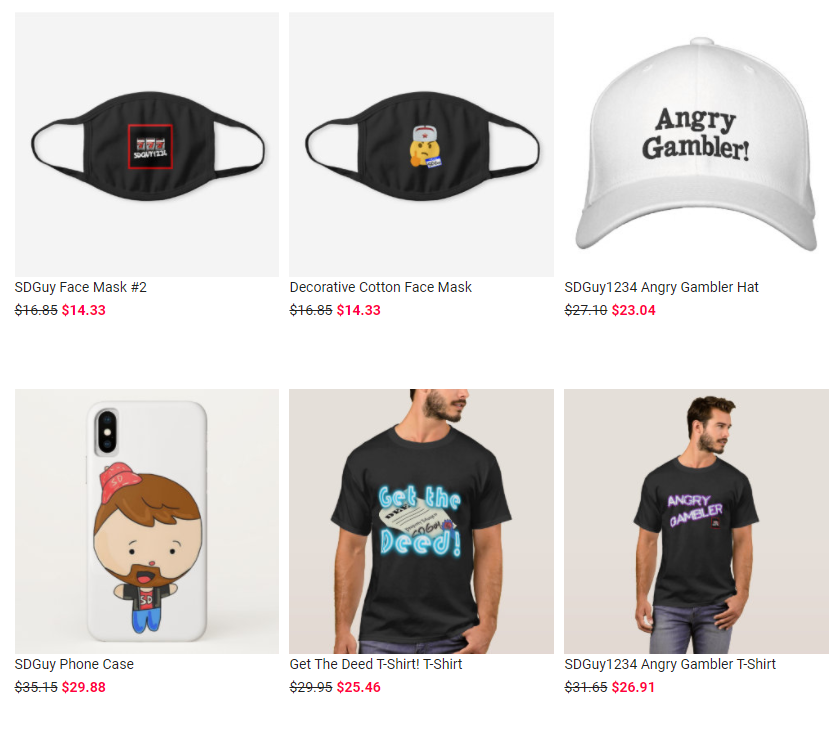 SDGuy1234 merch store that adds to his overall net worth.