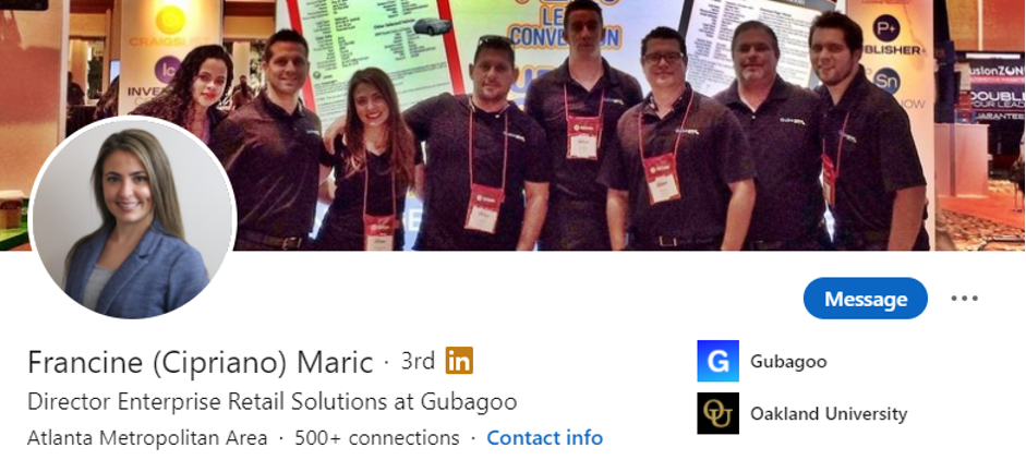 Lady Luck HQ's Francine Maric LinkedIn Page