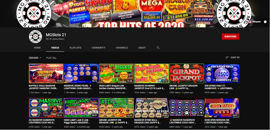 MGSlots 21 YouTube channel and subscriber count.