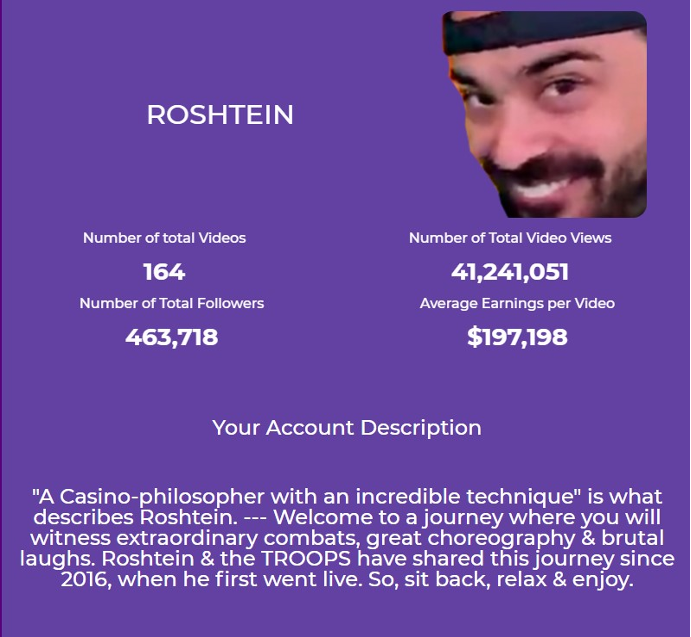 Roshtein Twitch views, stats, earnings and account description.