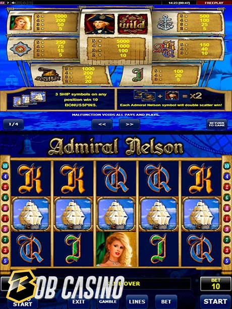 Amatic's Admiral Nelson slot rules and reels.