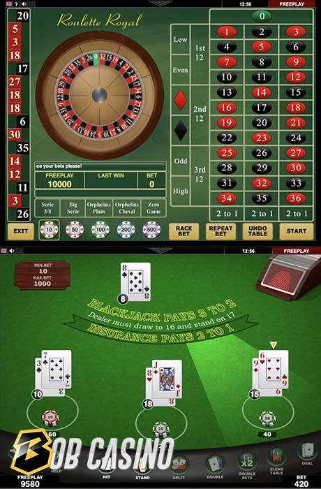Roulette Royal and Black Jack 21 table games from Amatic.