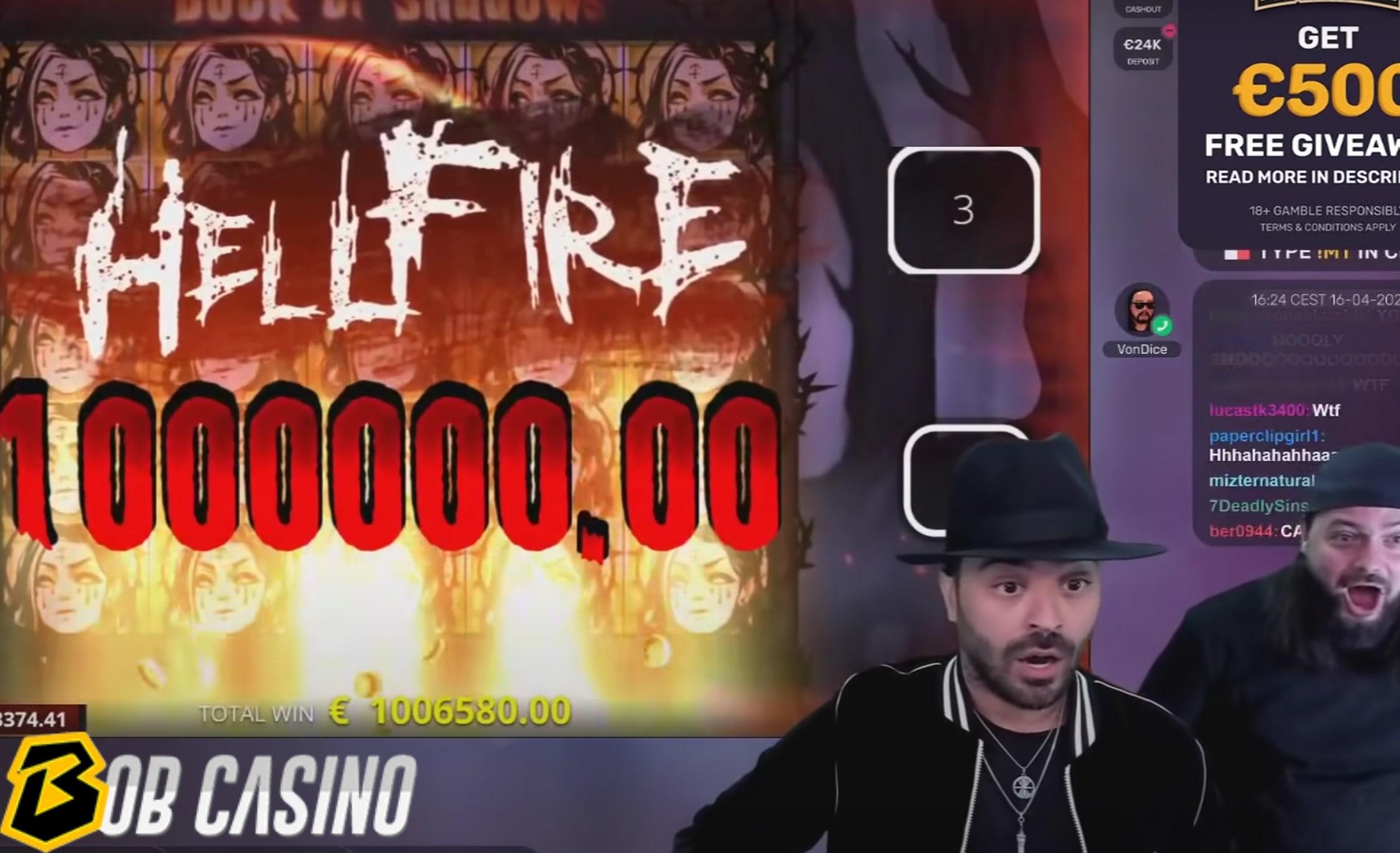 Roshtein wins 1 million euros during his Twitch stream.
