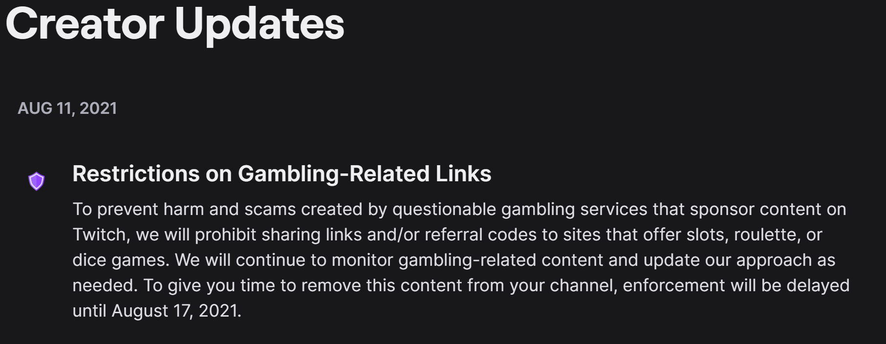 Twitch creator update announcing the ban on casino affiliate links.
