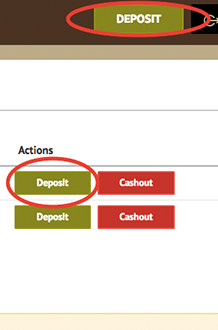 Making deposit from the Bob Casino account