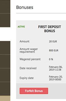 Activating First Deposit Bonus from an account on Bob Casino