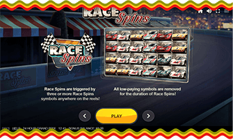 24 Hour Grand Prix slot title screen with game rules