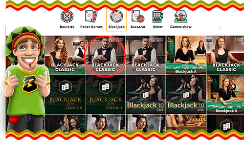 Live Blackjack game lobby on Bob Casino